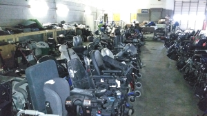 Inventory of chairs waiting to be processed