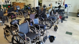 Wheelchairs ready for distribution